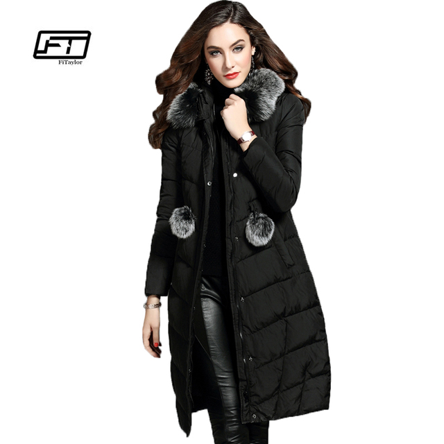 watch fbe5f ff85e US $77.88 |Fitaylor Frauen Winter Daunenjacke Fuchs Pelzkragen Warme  Kapuzen Parkas Mittellang Schlank Dicke Mantel Dame Rosa Mint Schnee  Outwear in ...