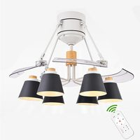 Iron Lampshade Modern Ceiling Fan with lights Pendant Remote Control Fan Lamps abanico madera For Dinning Living Room
