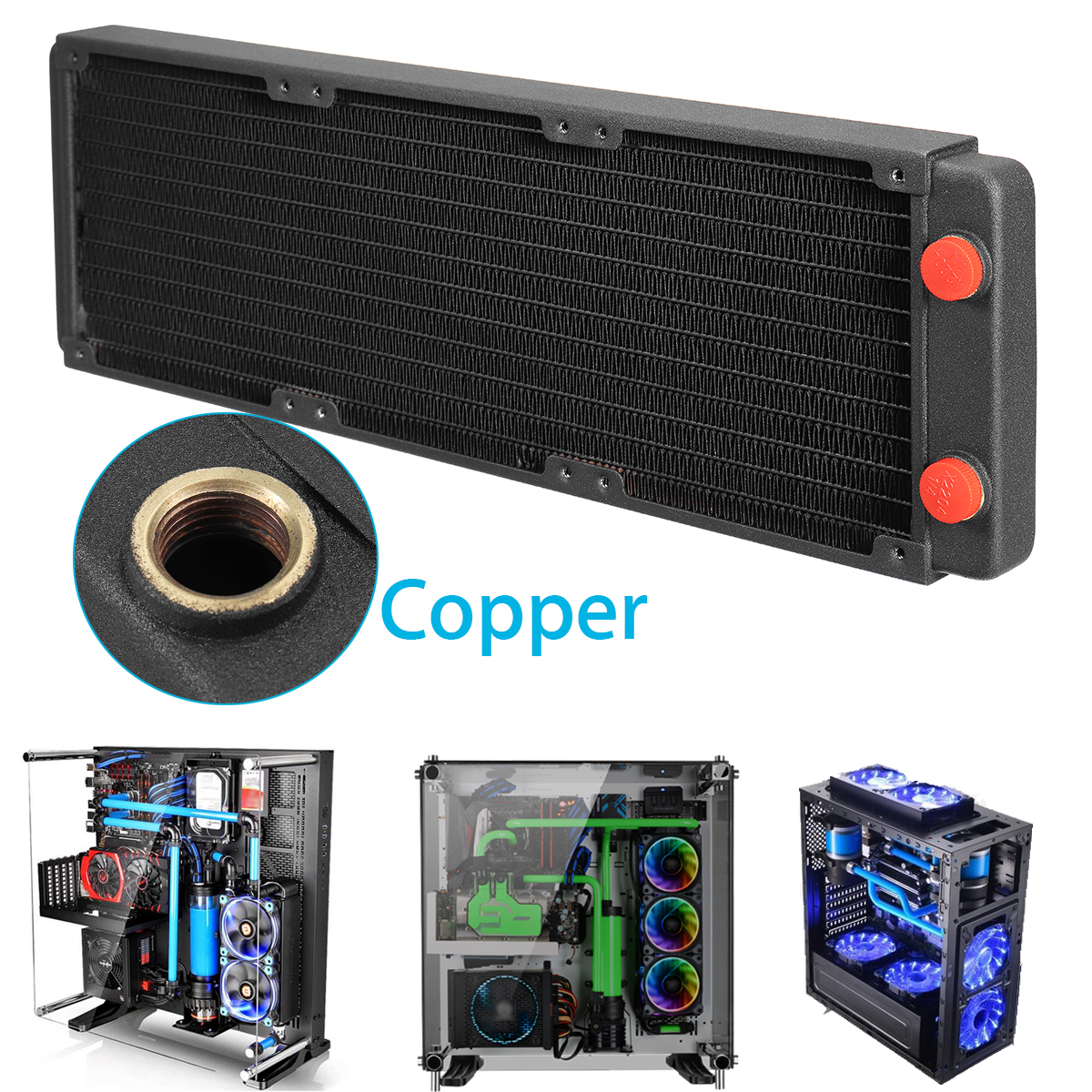 все цены на LEORY 360mm Copper Computer PC Radiator Cooler Tools 2.5cm/1'' Water Cooling Cooler Heat Sink Heat Exchanger Cooler for CPU GPU