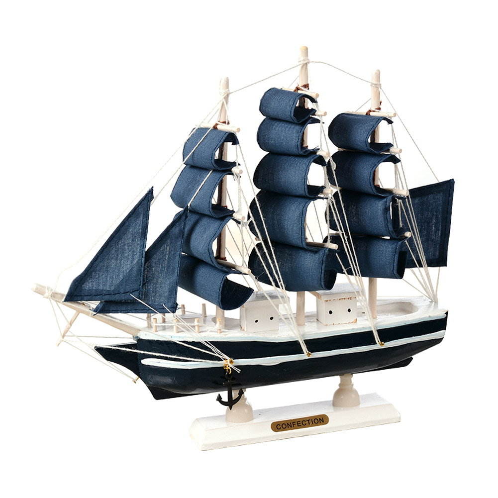 Wooden Sailing Ship Mediterranean Style Home Decoration Handmade Carved Nautical Boat Model Gift E2S