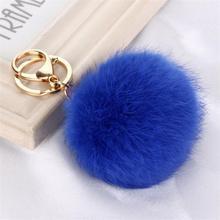 Hot selling New 8CM Length Rabbit Fur Ball Cell Phone Car Keychain Pendant Handbag Charm Key Chain PomPom ring