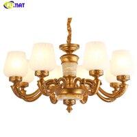 FUMAT European Style Glass Chandeliers Modern Art Gold Body Lightings Living room Bed Room White Glass Shade Chandelier Lights