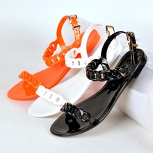 2017 Summer European And American Style Plastic Chain Jelly Sandals Girls Exposed Toe Women Flat Sandals