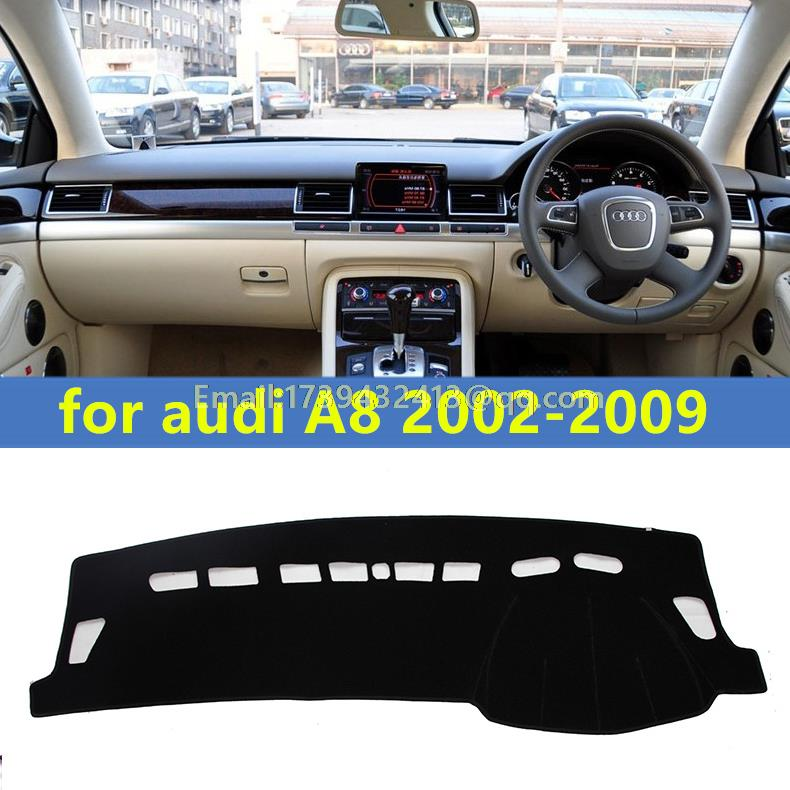 Dashmats voiture-style accessoires de couverture de tableau de bord pour audi A8 a8l 2002 2003 2004 2005 2006 2007 2008 2009 rhd