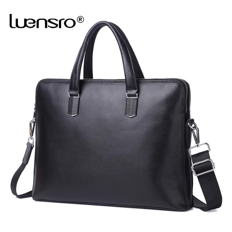 100% prawdziwa skóra bydlęca 14 ''teczki na laptopa mężczyźni Messenger torby męskie Crossbody torby na ramię walizka biznesowa warstwa skórzana torba w Teczki od Bagaże i torby na  Grupa 2