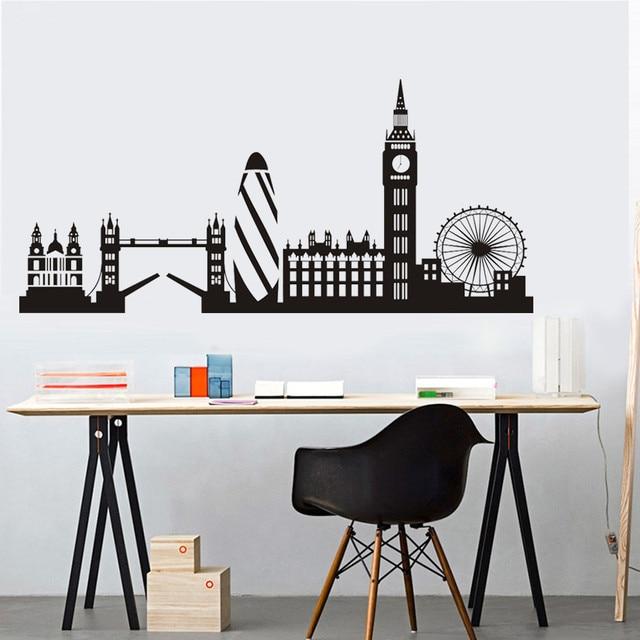 US $26.91 25% OFF|Stadt Gebäude London Skyline Silhouette Wandaufkleber Big  Ben Wahrzeichen Vinyl Wandtattoo Wohnzimmer Wand Kunst Wohnkultur in Stadt  ...