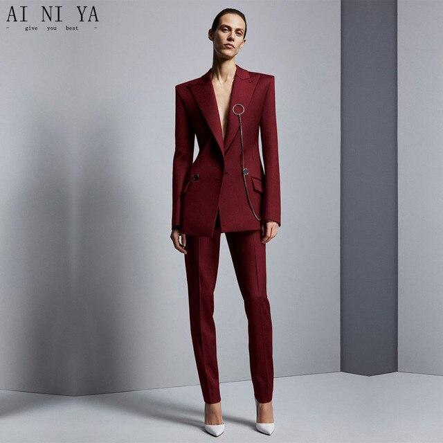 Vino Rosso Jacket Pants Vestiti Di Affari Delle Donne Disegni