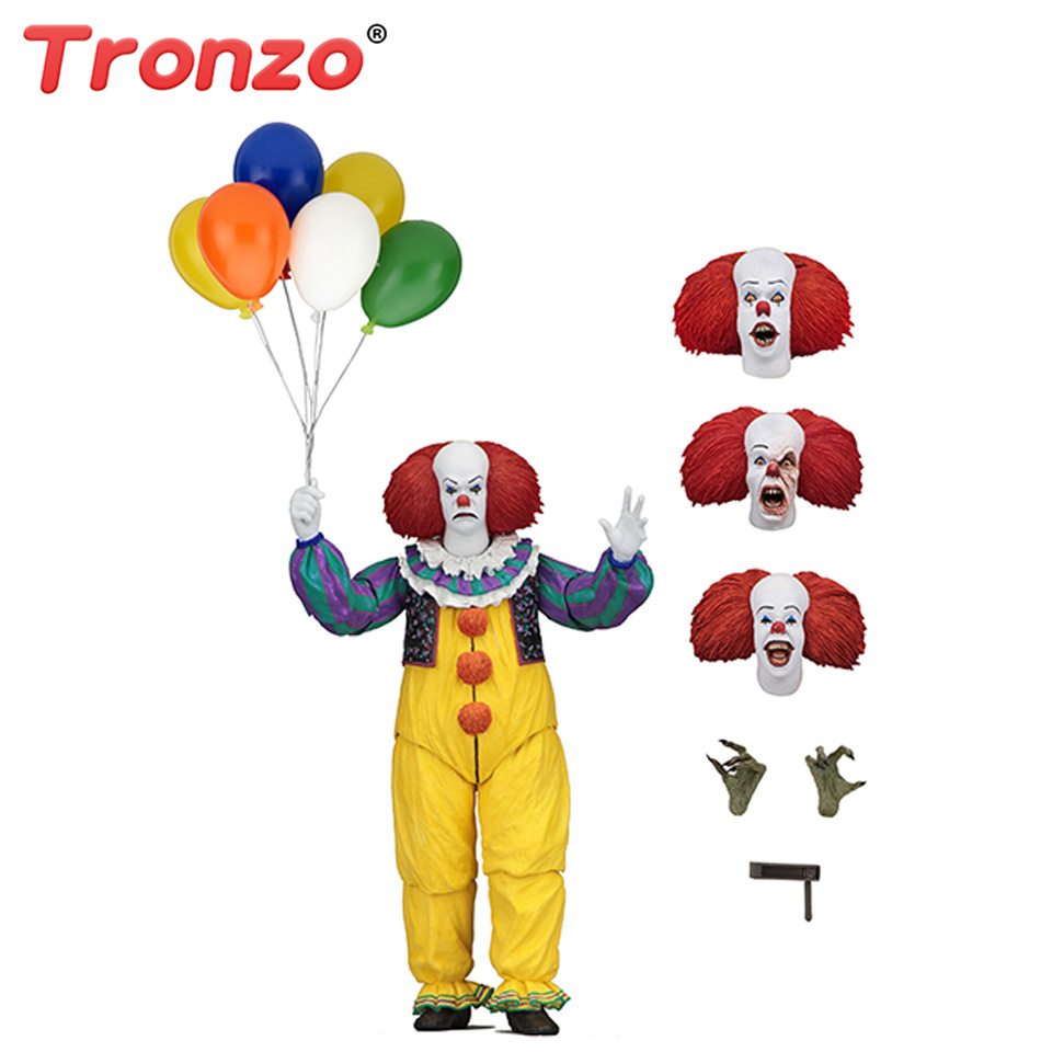 цены на Tronzo Action Figure NECA SHF IT Pennywise Figure 18cm IT Clown Model Collection Decor For Halloween Decoration Horro Gift в интернет-магазинах
