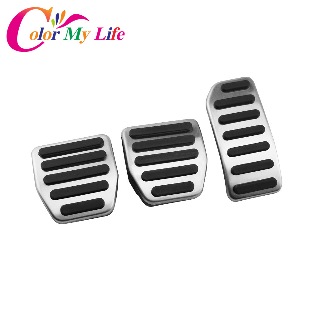 Color My Life Car Stainless Steel AT MT Gas Pedal Brake Pedals for Volvo XC60 XC70 V60 V70 S40 S60 S80L C30 Accessories Parts