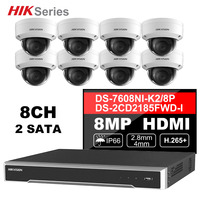 Hik Original CCTV System 8MP Camera System 8 Channel PoE NVR & 8 Pcs PoE IP Cameras Dome Outdoor HD Video Surveillance Kit
