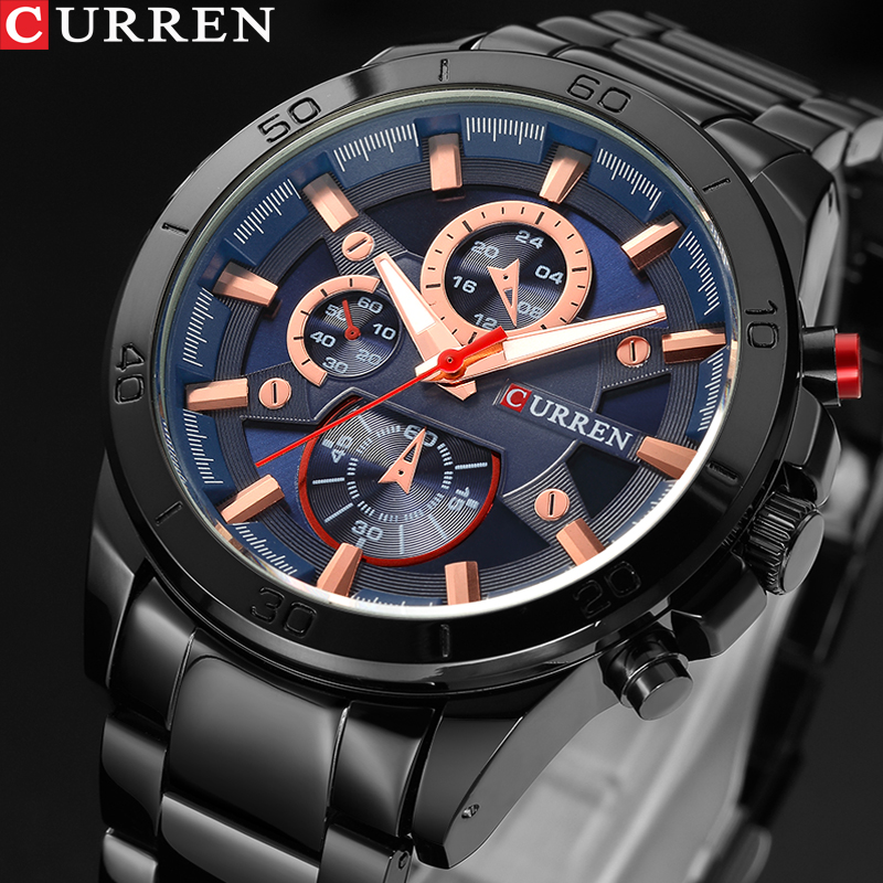 CURREN Men Watches Top Brand Luxury Men Military Wristwatches Full Steel Men Sports Watch Waterproof Relogio Masculino Montre relogio masculino original curren wristwatches mens watches top brand luxury silicone sports watches military army waterproof