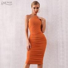 Adyce 2020 nuevo vestido de fiesta de un hombro para mujer, de noche, de celebridad Sexy caqui sin mangas elegante Bodycon Club Bandage vestido