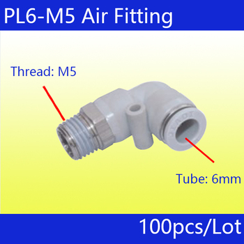 Free shipping 100Pcs PL6-M5_white,  M5 Male Thread to 6mm Elbow Pneumatic Connector Fittings
