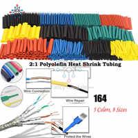 Mangas de Cable 164 Uds Tubo termorretráctil multicolor surtido envoltura de alambre eléctrico manguito de Cable de tubo retráctil conjunto de poliolefina