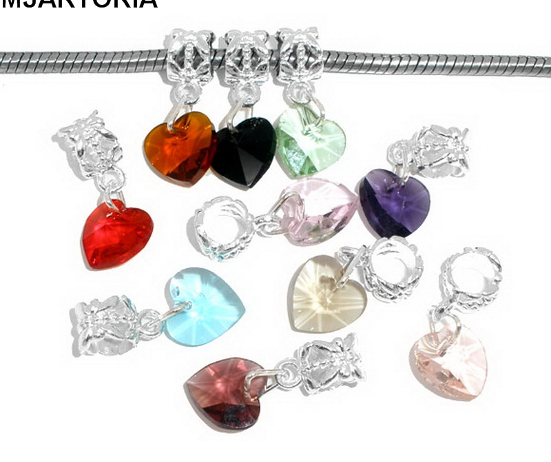 MJARTORIA 10PCs Mixed Imitation Heart Crystal Glass Faceted Dangling Pendants 24x10mm Craft Jewelry Findings Acessories