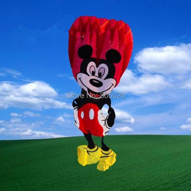 Livraison gratuite de haute qualité Mickey Mouse doux cerf-volant chinois cerfs-volants bricoler avec poignée ligne contrôle facile vol plus haut jouets de plein air