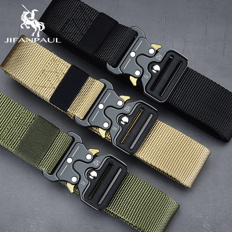 JIFANPAUL Genuine Men's Military Tactical Belt High Quality Nylon Alloy Fashion Metal Buckle Elastic Men's Training Battle Belt