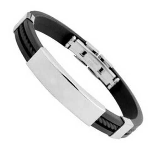 Fashion Men Women Bangle Bracelet Cool Stainless Steel Rubber Wristband Bangle Clasp Cuff Couple Bracelet Jewelry Gift