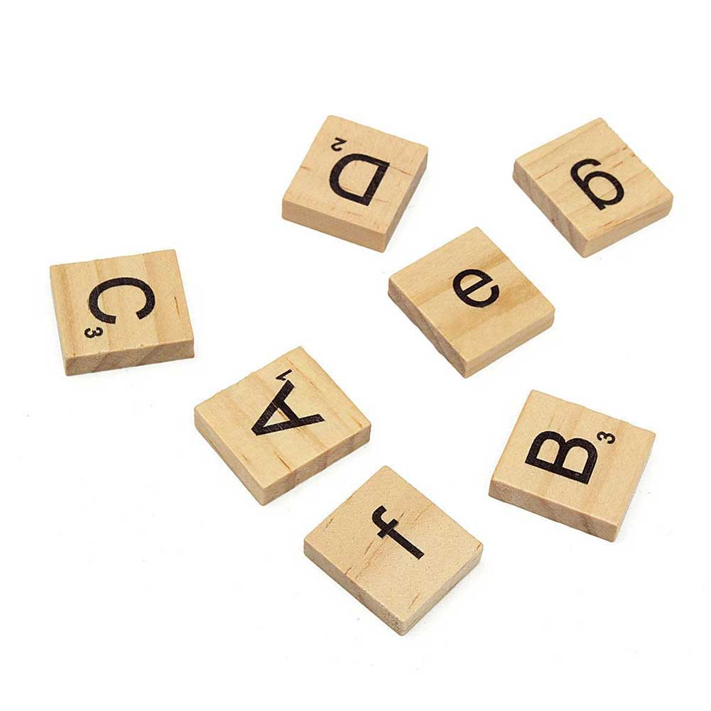 100Pcs Wooden DIY Alphabet Scrabble Tiles Letters Numbers for Board Crafts 88 AN88