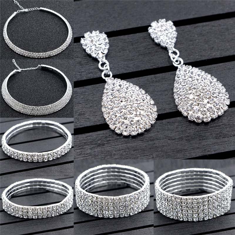 Hot Selling Jewelry Sets Wedding Accessories Bride Classic Rhinestone Crystal Choker Necklace Earrings and Bracelet Wedding