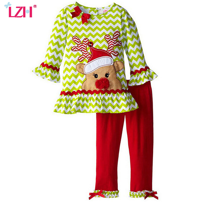 LZH 2017 Autumn Winter Girls Clothes Set T-shirt+Pants 2pcs Baby Girls Christmas Outfits Suit Costume For Kids Children Clothing lzh children clothing 2017 autumn winter kids boys clothes t shirt pants 2pcs baby christmas outfits suit for boys clothing sets