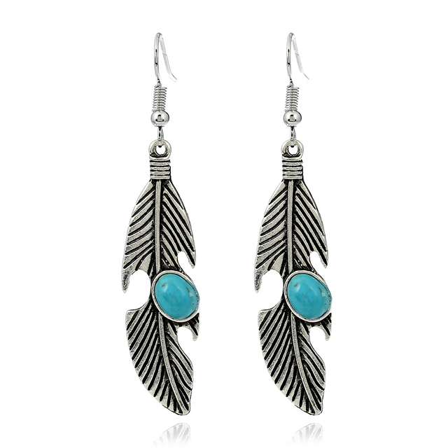 Bohemian Vintage Earrings For Women Ethnic Style Ancient Silver Feather Shape Dangle Indian Jewelry