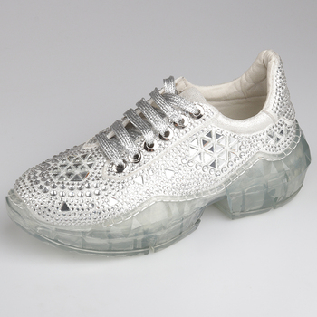 EXCARGO Women Sneakers Rhinestone Jelly Platform Chunky High Heels Sneakers Women Shoes Casual 2019 New Female Shoes Sliver 40