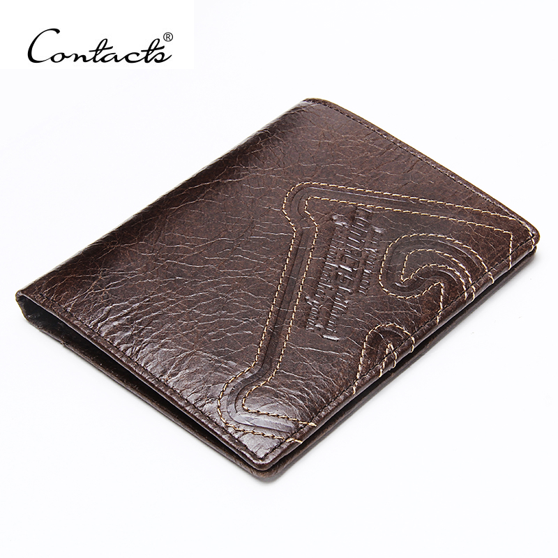CONTACT'S Genuine Leather Men Wallet Thin Design Short Wallet Casual Purse With Card Holder Coin Purses And Photo Holder Wallets thin genuine leather men wallet small casual wallets purse card holder coin mini bags top quality cow leather carteira