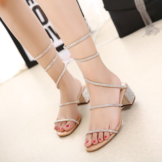 04d8889f95767 2017 Summer shoes Thick Heel gladiator sandals women Flat Sandals Snake  Punk Rhinestone Women Sandals Wedding shoes size 35-40