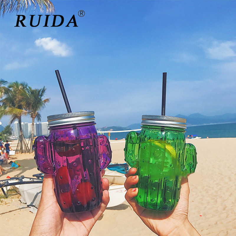 Ruida Creative Small Fresh Cactus Shape Straw Glass Cup High Temperature Resistant Fruit Teacup Summer Transparent Glass Cup