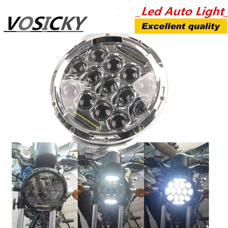 VOSICKY 7 inch 75W Round LED Headlight 7500LM Hi/Low Beam Head Light with Bulb DRL for harley free shipping 7inch round headlight 75w h4 motorcycle round led headlamp daymaker hi low beam head light bulb drl for offroad