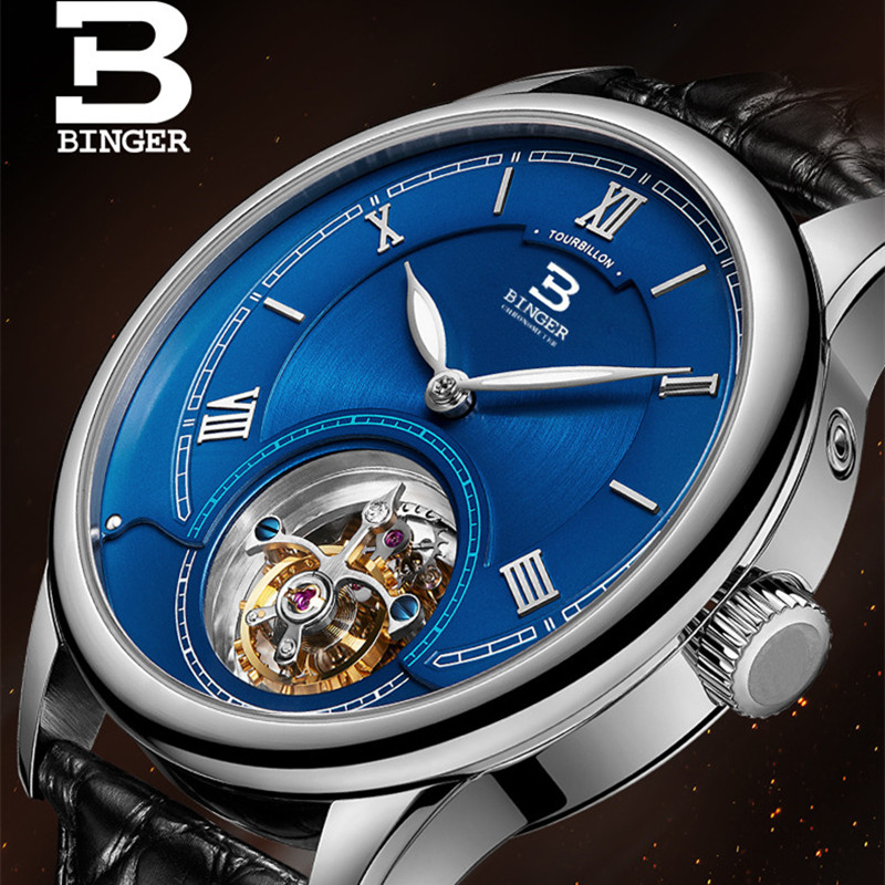 Haute qualité hommes mouette montres automatiques à remontage automatique romain montre-bracelet d'affaires 5Bar en cuir véritable Tourbillon montre saphir