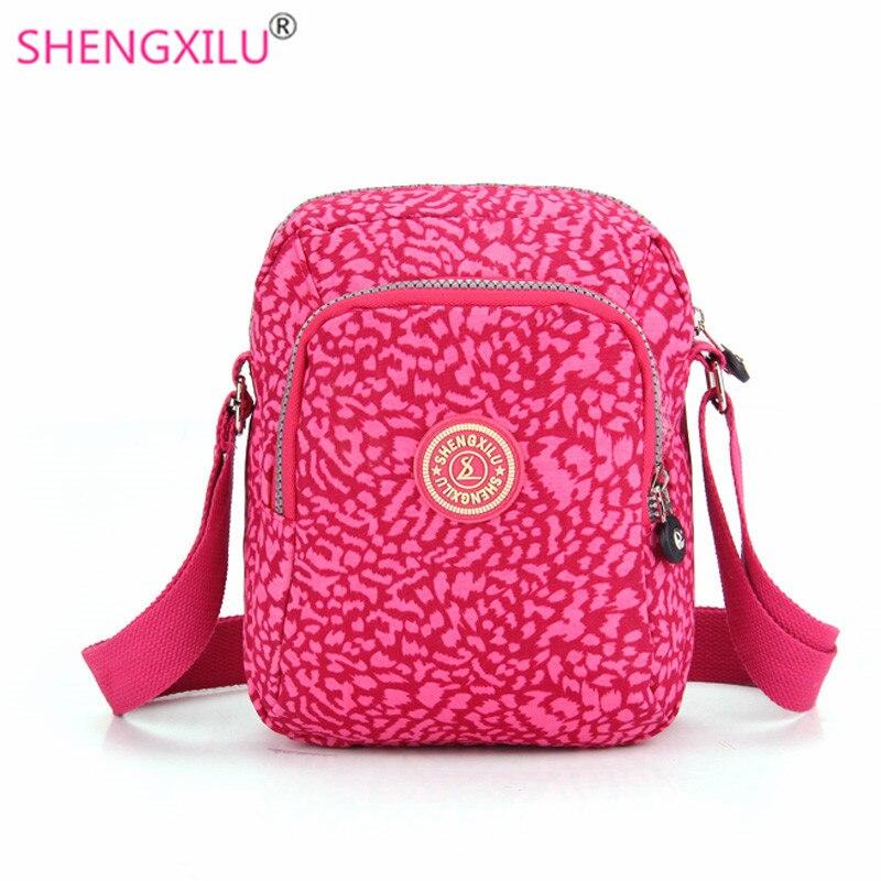 Shengxilu casual women shoulder bags nylon pink leopard brand female handbags gi
