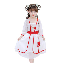 OlOLEY2019 Girl Dress Clothes Summer And Autumn Chinese Style Tang Suit Hanfu Cheongsam Super Fairy Trend Princess