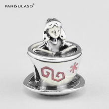 Alice in Wonderland Teacup Silver Beads for Jewelry Making Cartoon Silver 925 Jewelry DIY Beaded Beads for Women Charm Bracelets(China)