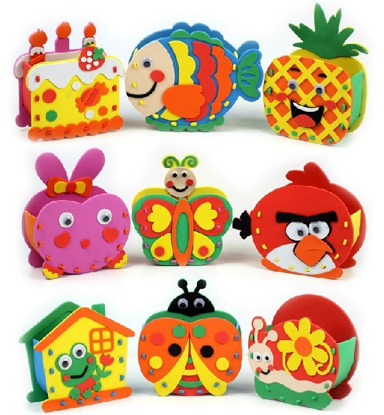 FREE SHIPPING Cartoon brush pot,3D eva handmade puzzles, DIY children hand Stereo sticker,Children's Gift&educational toys
