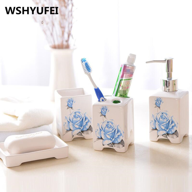4pcs Bathroom Accessories Jingdezhen Ceramic Toiletries Supplies Quality  Bathroom Sets Home Decoration Wedding Gifts