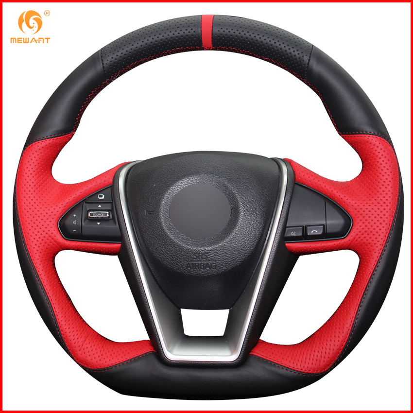 MEWANT Black Red Genuine Leather Car Steering Wheel Cover for Nissan Lannia 2015 Maxima 2016 Interior