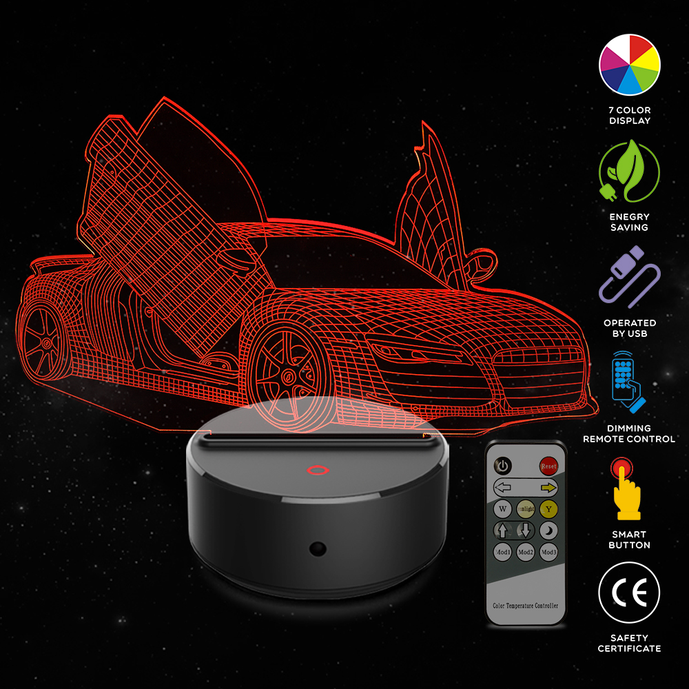 Open The <font><b>Car</b></font> Door <font><b>3D</b></font> <font><b>LED</b></font> <font><b>Night</b></font> Lamp 7 Colors USB Hologram Decor Lamp Table Desk <font><b>Lights</b></font> Birthday Party Gift for Children Friends image