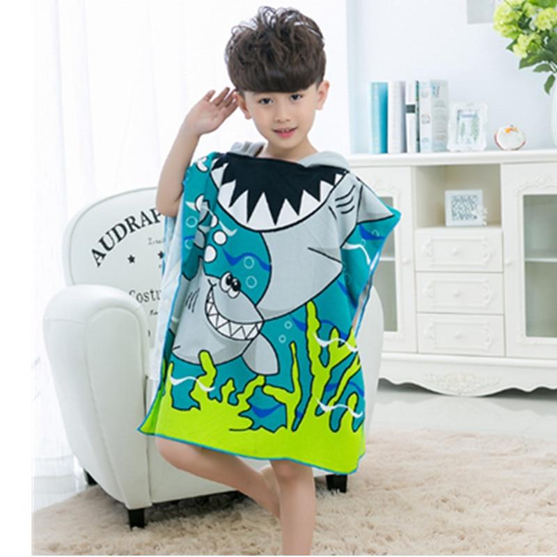 Kids Cartoon Bath Towel Baby Boys Girls Hooded Beach Towel Children Hooded Towel Swimming Cloak