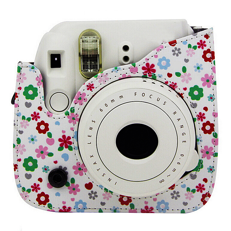 Flower Faux Leather Camera Case Bag Protector For Fujifilm Polaroid Instax Mini8 Camera/Video Bags