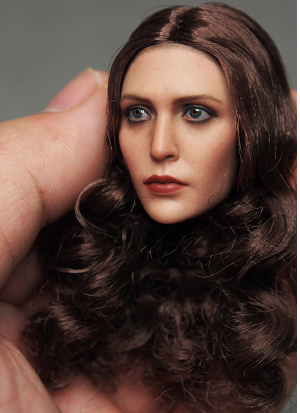 Custom 1//6 Scale Elizabeth Olsen Scarlet Witch Head Sculpt