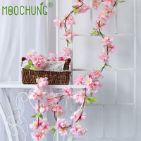MOOCHUNG 6 Pack Silk Artificial Cherry Blossom Flowers String Vine Wedding Arch Decoration Fake Floral Garland Light Pink 1.65m