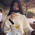 2016 новый осень зима колледж fahsion свободные негабаритных пуловеры шерсть вязаный белое вино водолазки свитера женщины высокое качество