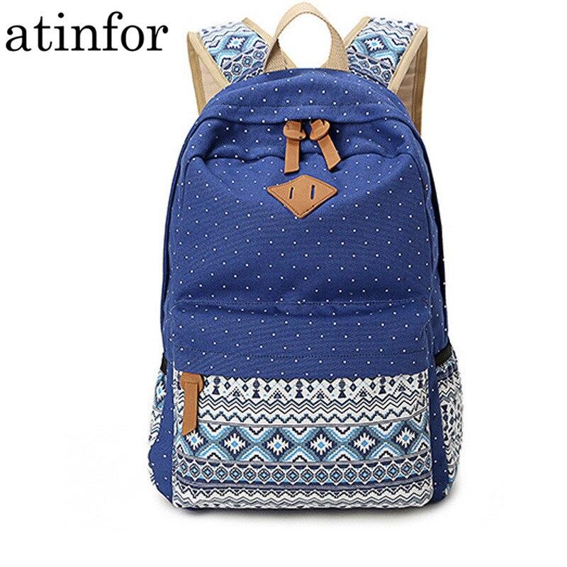 Vintage School Bags For Teenagers Girls Schoolbag Large Capacity Lady Canvas Dot Printing Backpack Rucksack Bagpack Book Bag