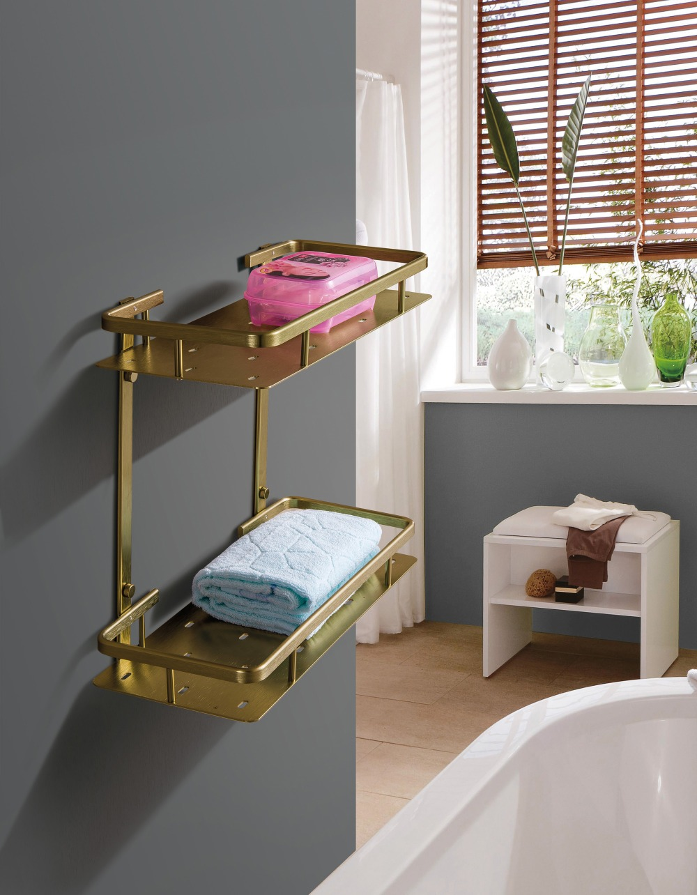 ФОТО Aluminum Dual Tier  Bathroom Towel/Tooth Brush Shelves/Rocks With Wall Mounted  For Free Shipping