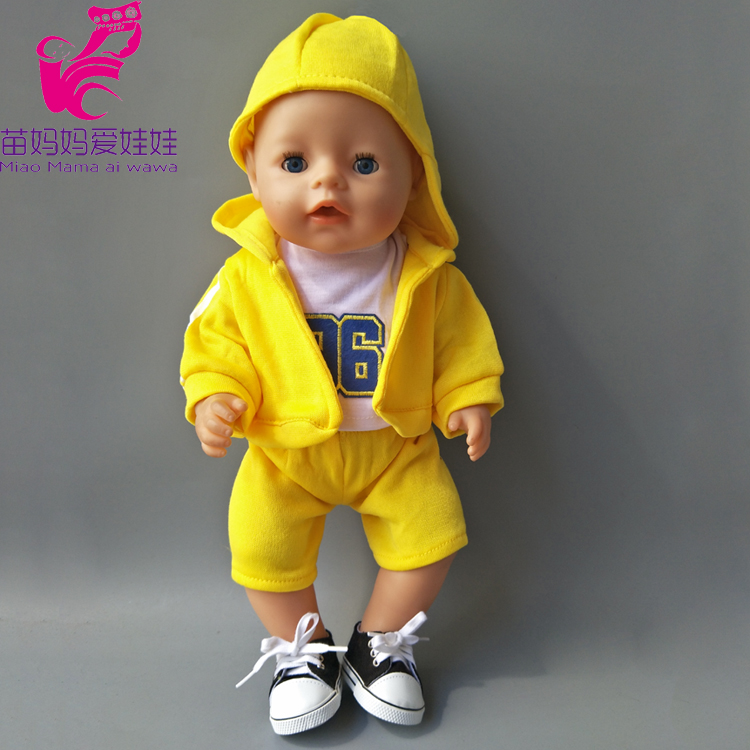 Yellow Causal Clothes shirt Pants hat set for 43cm Zapf Baby Born Doll also fit for 18 inch doll boy suit best gift to Children red hat t shirt rompers doll clothes wear fit 18 inch american girl 43cm baby born zapf children best birthday gift n289