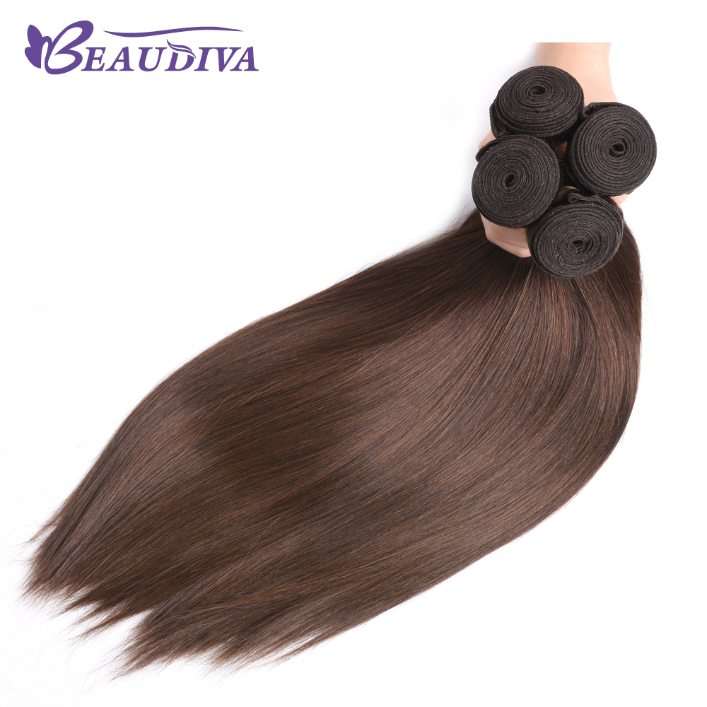 Beaudiva Pre-Colored Hair Weave Straight Human Hair Bundles 4 Pieces #4 Light Brown Malaysian Hair Weave Bundles Non Remy Hair