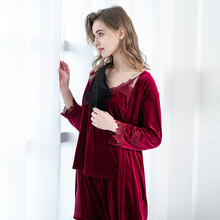 JULY'S SONG 2019 Gold Velvet 4 Pieces Warm Winter Pajamas Sets Women Sexy Lace Robe Pajamas Sleepwear Kit Sleeveless  Nightwear