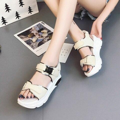 Buckle Leather Sandals Women Spring Summer Thick Bottom Shoes Fashion Casual High Platform Sandals Med Heel Wedges Walk Shoes Karachi